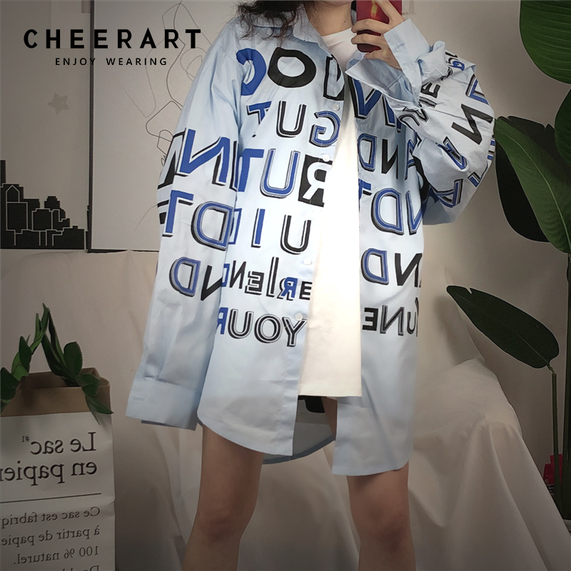 b9ac467719945 Cheerart Korean Long Shirt Women Spring Letter Print Long Sleeve Plus Size  Shirt Blue White Loose