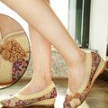 2016 Retro Verano Estilo Mujeres de Los Zapatos Viejos de Pekín Pisos Chino Bordado de La Flor Lienzo de Lino Zapatos sapato feminino Tamaño 35-40