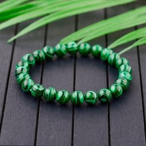 Image 1 - 2020 Natural Green Stripe Stone Beads Bracelet Charm Men Meditation Handmade Bracelets&Bangles Prayer Jewelry Women AB139