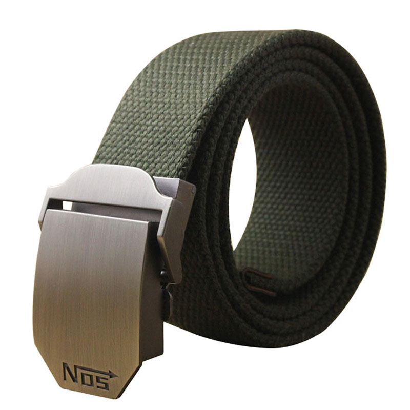 Unisex tactical   belt   Top quality 4 mm thick 3.8 cm wide casual canvas   belt   Outdoor Alloy Automatic buckle Men   Belt   110-140cm