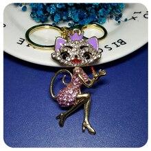 3D Design Rhinestone Lady Cat Elegant Style Handbag Charm Ornament  Accessory Fantastic Key Chain Gift