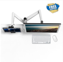 Free Shipping OA-8Z  Full Rotation Height Adjustable Double Arm 27inch Monitor Holder+Double Tablet PC Stands 9-10inch