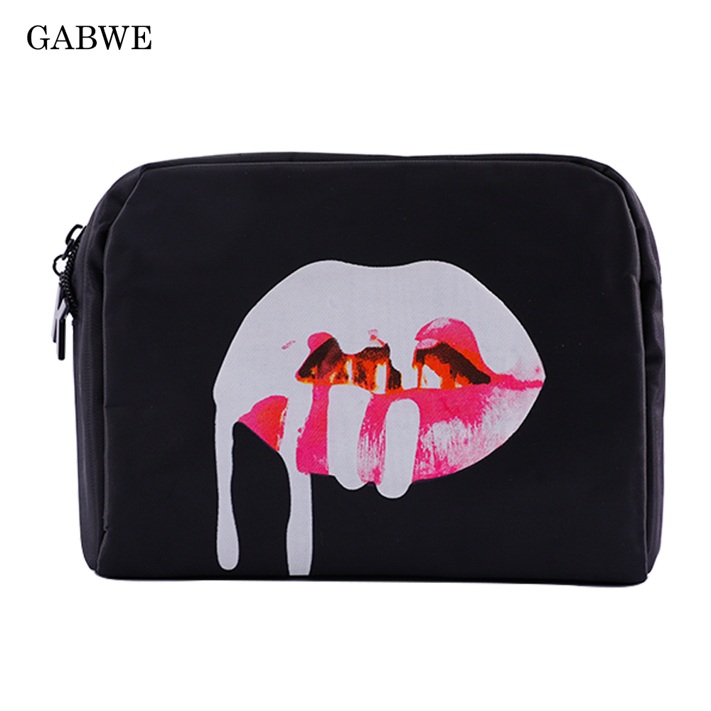GABWE Black Make Up Bag Kylie Jenner Lip Zipper Bag Waterproof Storage Pouch Portable Women Travel Cosmetic Cases Bags For Women