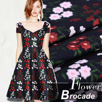 140CM Wide 375G/M Weight Floral Jacquard Black Brocade Viscose Polyester Cotton Fabric for Spring and Autumn Dress Shirt E325