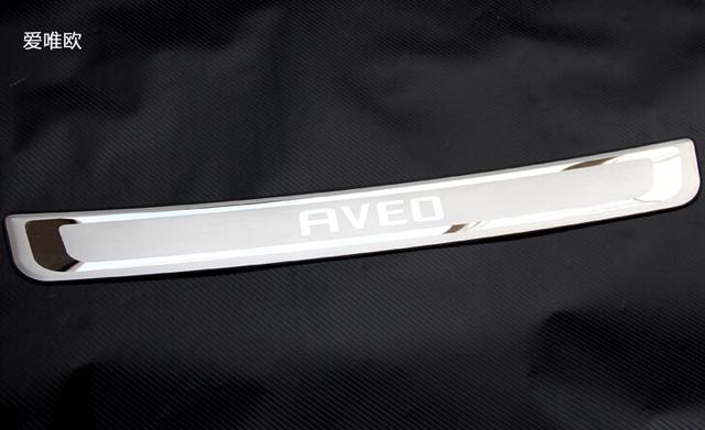 Limiar de Almofada de proteção No Tronco Traseiro Guarnição Tampa traseira estilo do carro do peitoril da porta Para Chevrolet AVEO 2010