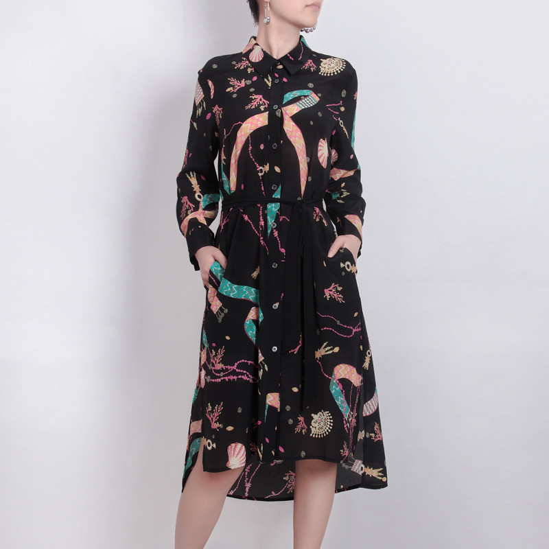Women Dress 2019 Spring Summer Women Shell Print Silk Blouse Dress Silk Turn-Down Collar Dresses New