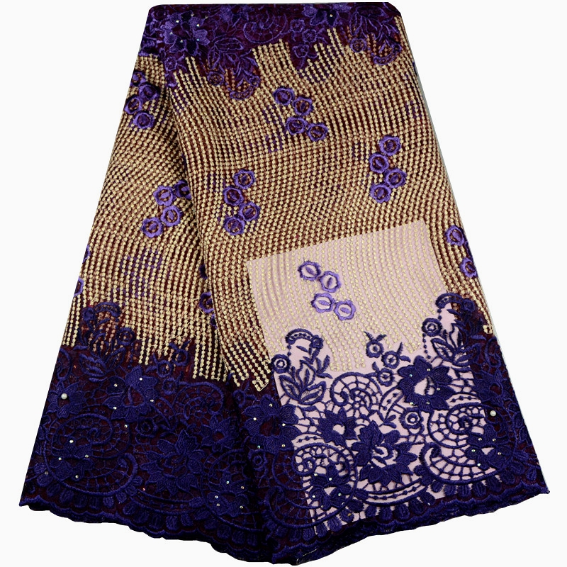 French African Lace Fabric High Quality Golden Line African Embroidered Tulle Lace Fabric For Wedding Dress
