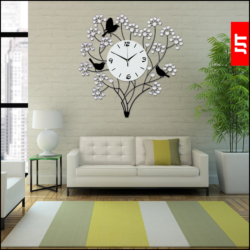 Big Wall Clocks For Living Room Interior Design Unit Luminousness Large Luxury Diamond Modern Clock ...
