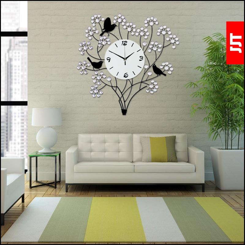 Luminousness Large luxury diamond modern wall clock fashion mute art ...