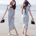 Women's Fashion Stitching straps Comfortable Slim Bohemian dress