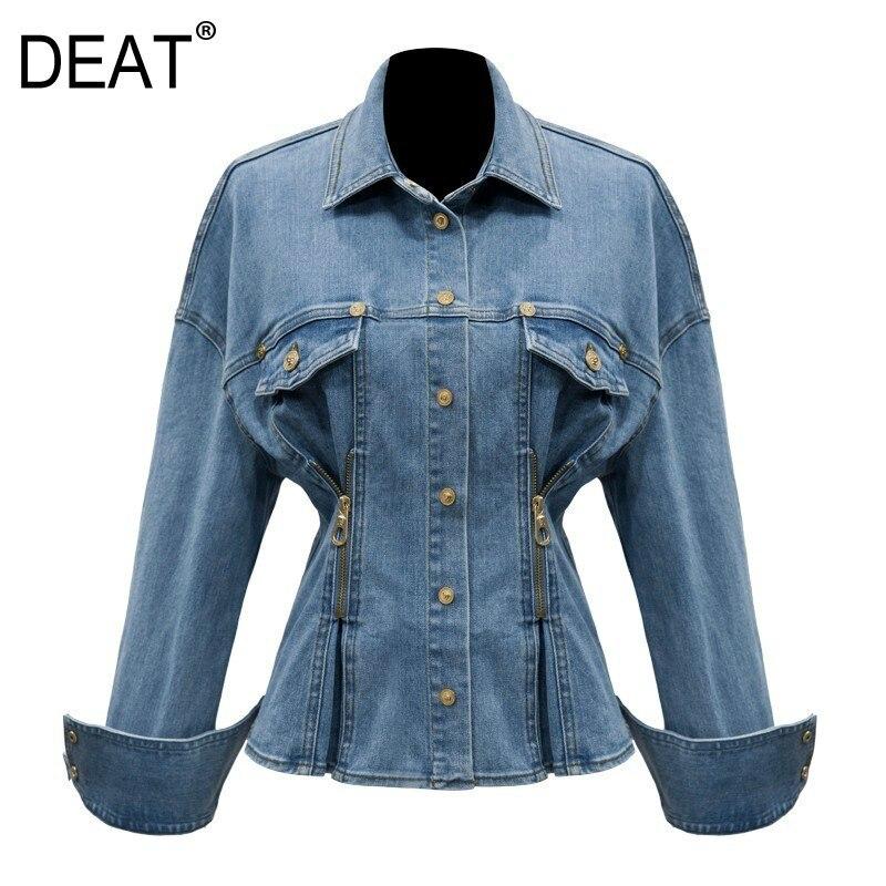 DEAT 2019 nouveau printemps été revers à manches longues taille Zipper Split Joint lâche Denim veste femmes manteau mode marée JL878