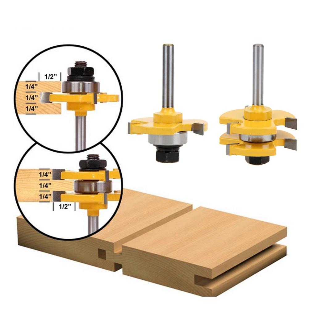 "2pcs Tongue & Groove Router <font><b>Bit</b></font> Set 3/4\"" Stock 1/4\"" Shank 3 Teeth T-shape Wood Milling Cutter Flooring Wood Working Tools"