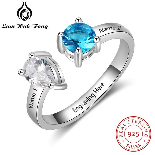 e331b7a1f Personalized 925 Sterling Silver Open Ring with 12 Month Birthstone  Engraved Name Ring Fine Jewelry Gift