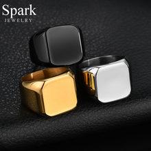 Spark-Anillo de grabado personalizado para hombre, sortija de boda cuadrada con foto y nombre personalizado de acero inoxidable, regalo de aniversario