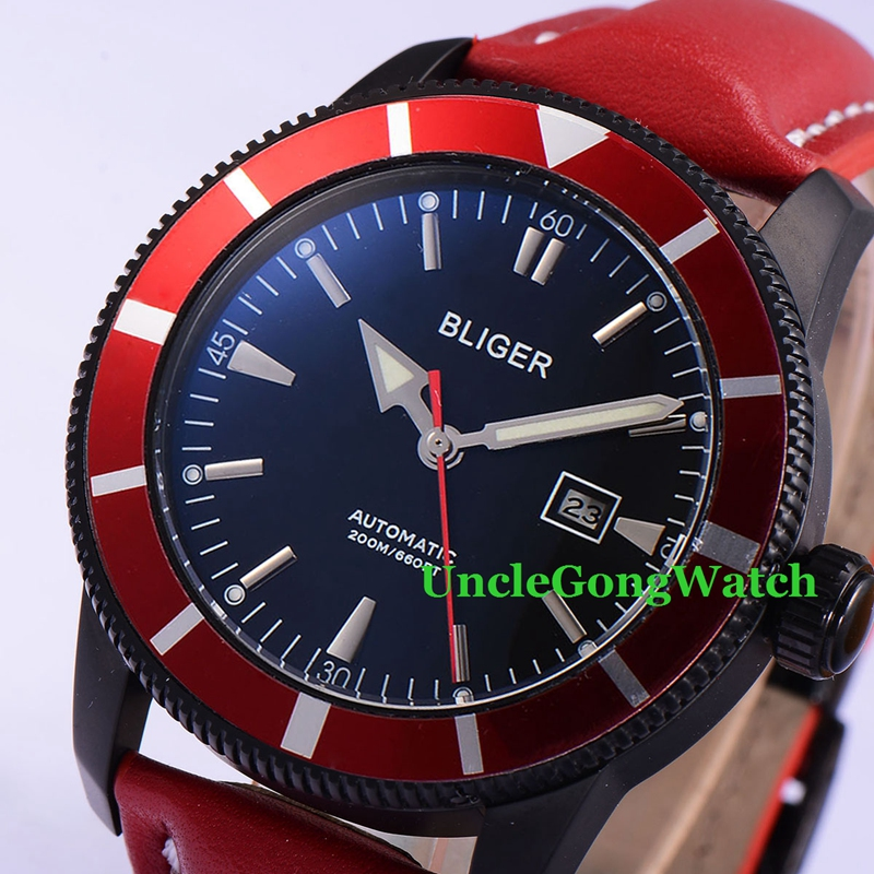 46mm Bliger Automatic Mens Watches Black Dial Red Rotatable Bezel Timepiece Red Leather Strap Deployment Buckle Clock BA4601PR