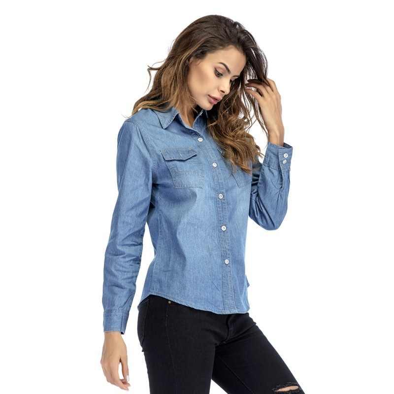 8439bbf9 ... Women Solid Turn-down Collar Shirts Casual Denim with Button Slim Light  Blue Shirt Women ...