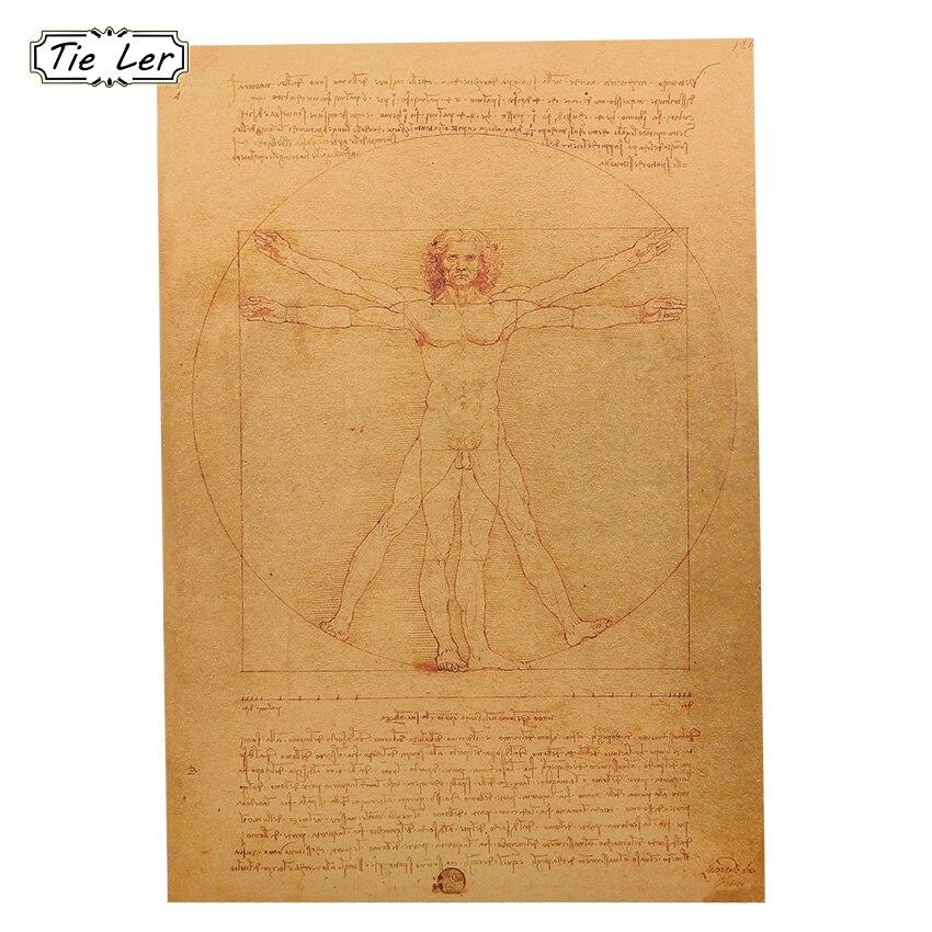 1 Pcs Vintage Leonardo Da Vinci Manuscript Vitruvian Man Posters Kraft Paper Home Wall Stickers Bedroom Decoration