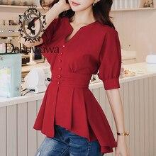 Dabuwawa femmes Sexy col en v chemises 2019 été nouvelle lanterne manches rétro Blouse élégant vin rouge plissé ourlet hauts DN1BST003