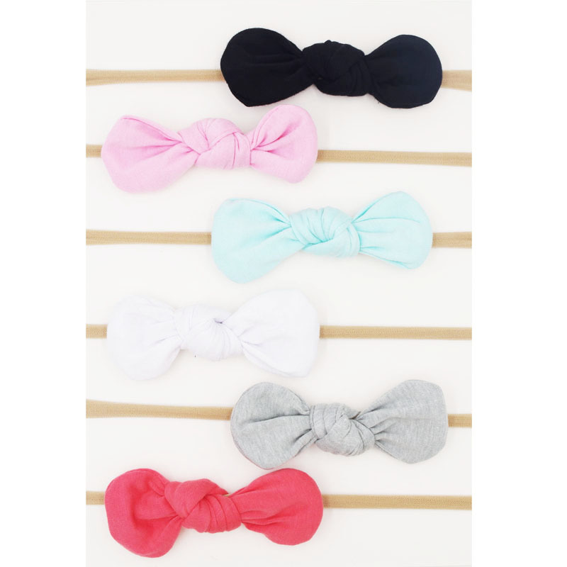 все цены на  Baby Girls Nylon Headband Bow Head Band Hair Accessories Elastic Rabbit Ears Knot Hairband for Infant Kids Toddler 6Pcs/Lot  в интернете
