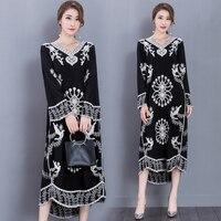 Fashion Embroidered Dress Long Sleeve Traditional Indian Clothing Turkish Pakistan India Women Clothing