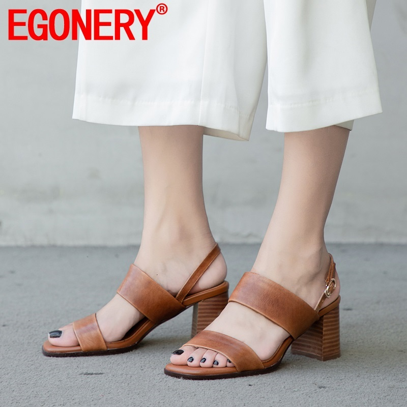 EGONERY woman shoes 2019 summer new fashion sexy open toe high quality sheepskin woman sandals outside high heels buckle shoesEGONERY woman shoes 2019 summer new fashion sexy open toe high quality sheepskin woman sandals outside high heels buckle shoes