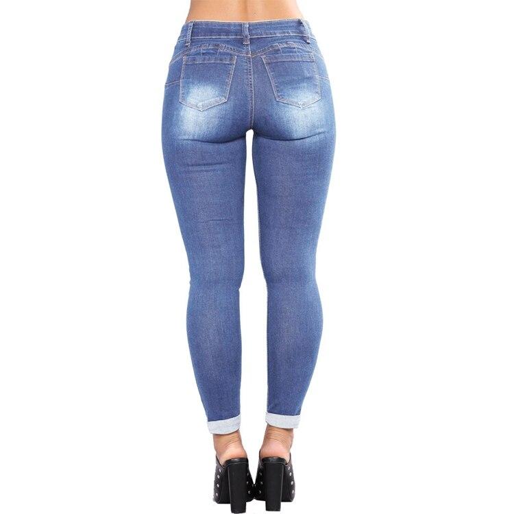 Women Jeans Pants Skinny Pearl Beaded Front Jeans Summer Spring Mid Waist Zipper Long Denim Casual Pants (11)
