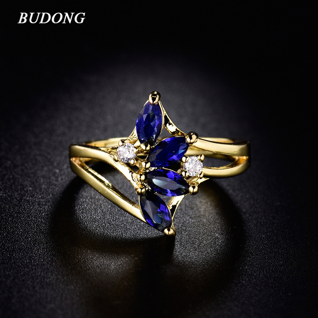 BUDONG Fashion Party Rings for Women 2016 Gold-Color Ring Bright Royal Blue Crys