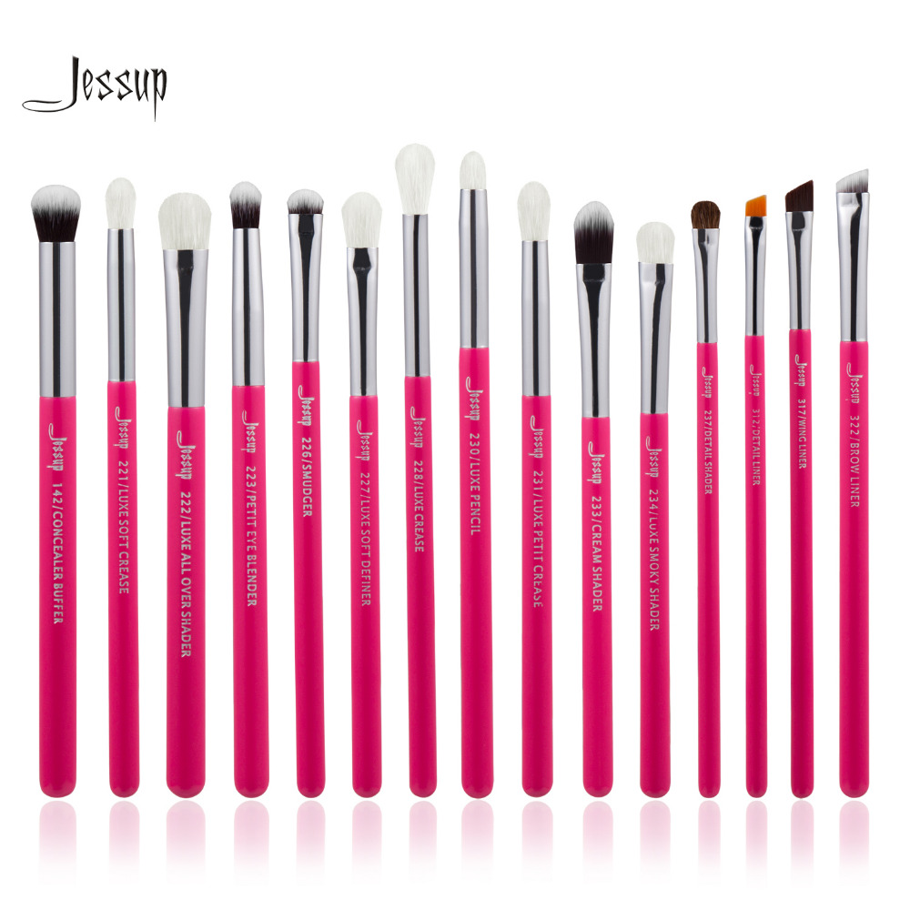 Jessup Brand Rose carmin Silver Professional Makeup Brushes Set Make up Brush Tools kit Eye Liner