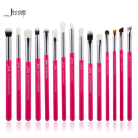 Jessup Brand Rose Carmin Silver Professional Makeup Brushes Set Make Up Brush Tools Kit Eye Liner
