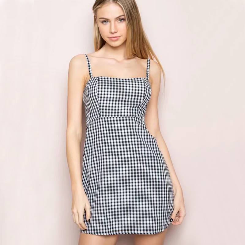 0d9861c58 Women Black and White Plaid Spaghetti Strap Dress Gingham Print Cami Dress