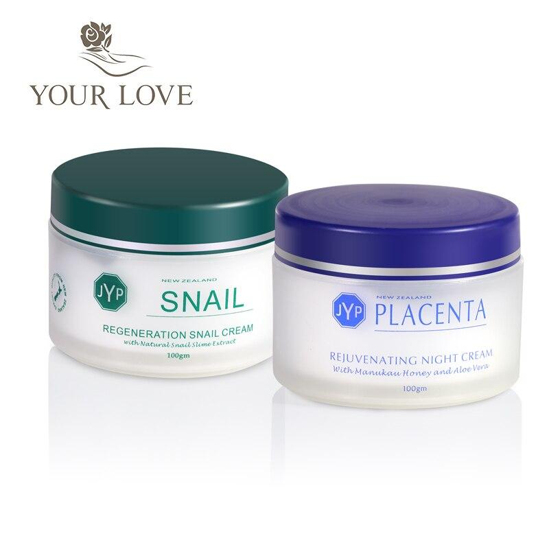 JYP régénération escargot crème de jour + rajeunissant mouton Placenta crème de nuit visage soins du corps crème hydratante tactile de haute qualité