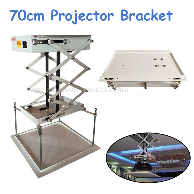 70cm Ceiling Mount Projector Lift Motorized Electric Lift Scissors Projector Projector Bracket With Remote Control 70cm projector bracket motorized electric lift scissors with remote electric ceiling mount bracket for cinema church hall school