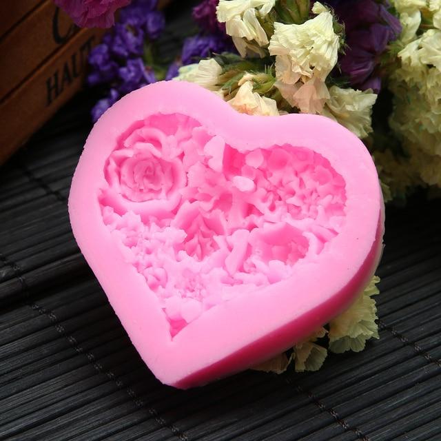 Rose Cake Mold Silicone Baking Decorating Tools Heart Shaped Cake