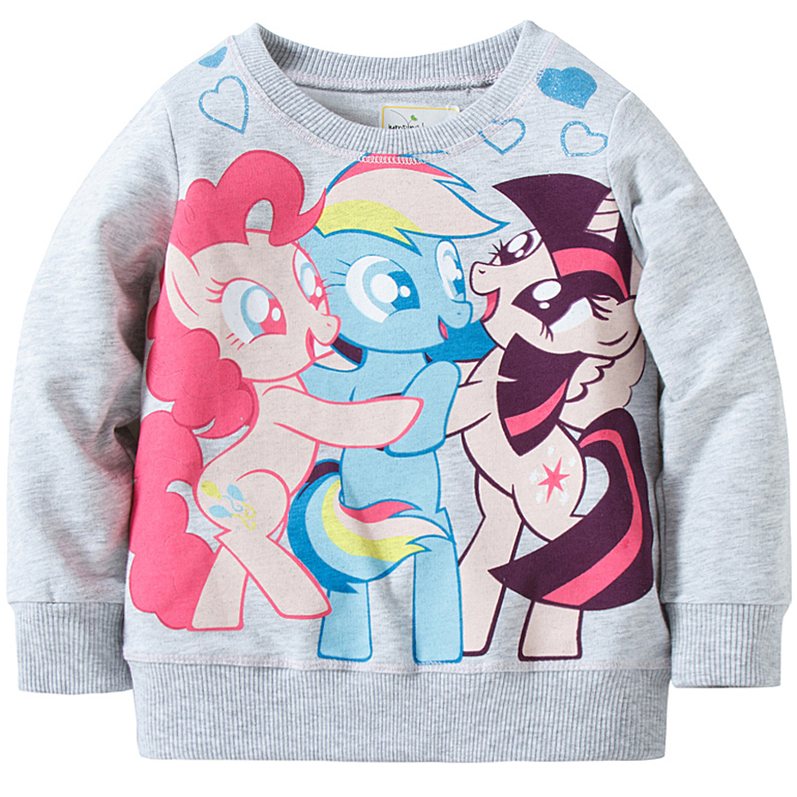Gray cartoon full sleeve girl's tops pony t-shirt for girls cotton casual o-neck full sleeve tops kids t-shirt children clothing