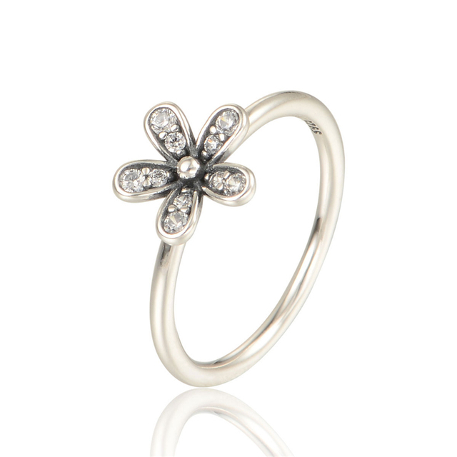 100% 925 Silver Rings with Cubic Zirconia European Sterling-Silver-Jewelry Daisy Wedding Rings For Women Free Shipping