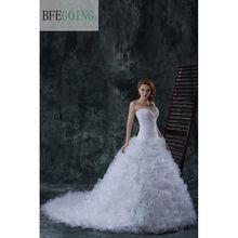 Organza blanc sirène/trompette étage longueur robe de mariée chapelle Train plein volants jupe perles broderie