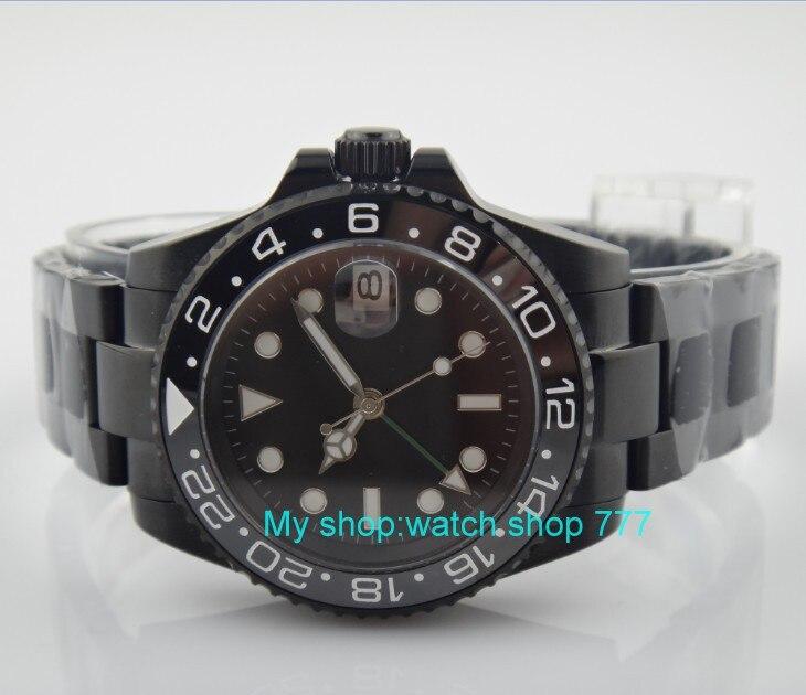 Сапфировое стекло 40 мм Парнис черный циферблат Азиатский Самовзводные движение Керамика ободок GMT световой PVD корпус мужские часы 390A