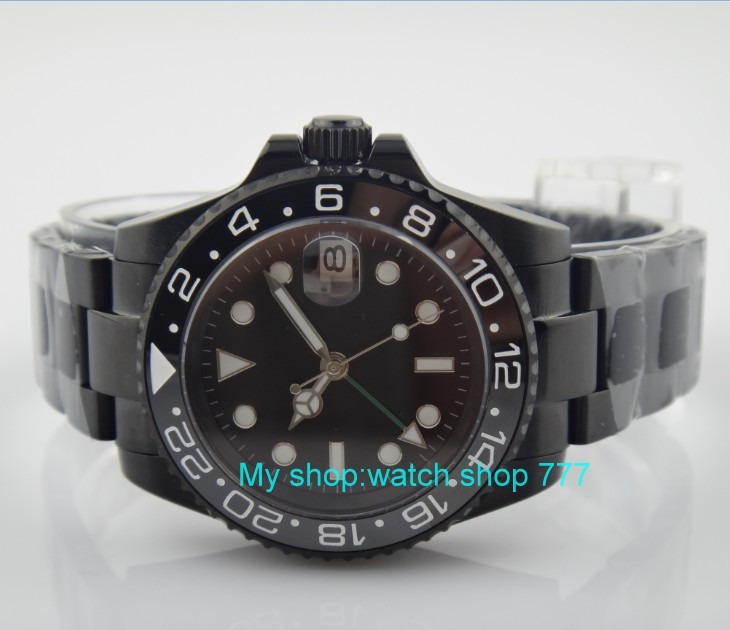 Sapphire crystal 40mm parnis black dial Asian Automatic Self Wind movement Ceramic bezel GMT luminous PVD case men's watch 390A