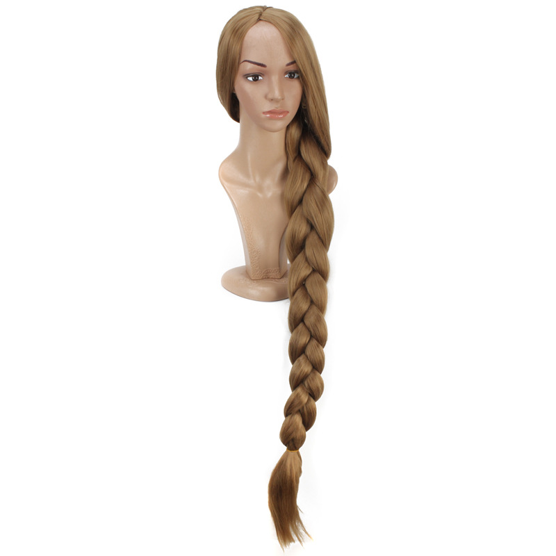 Anime Princess Rapunzel Long Braid Hair Cosplay Costume Tangled Women Plait Halloween Party Role Play Wig Ponytail