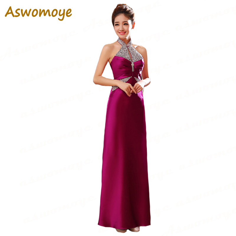 2018 New Fashion Custom Made Elegant Floor- length Party   Evening     Dress   Straight Halter Women Long Formal   Dress   Cheao Price LF27