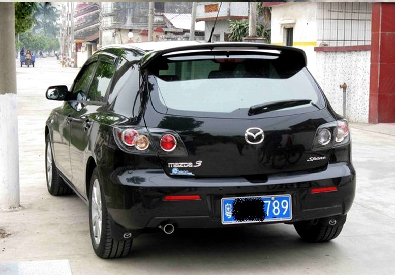 ABS material rear window trunk wing spoiler for <font><b>mazda</b></font> 3 Hatchback Easy punch installation stop red light spoiler for primer image