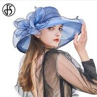 Sombreros de sol florales para mujer, sombrero de Organza azul y rosa, de ala ancha moldeable, 20 colores