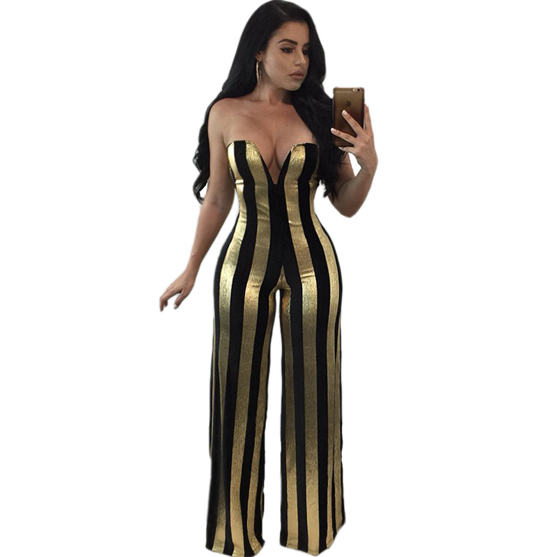 Women Dressy Strapless Jumpsuit Sexy V-Neck High Waist Black Gold Striped Print Wide Leg Pants Romper Party Formal Jumpsuits