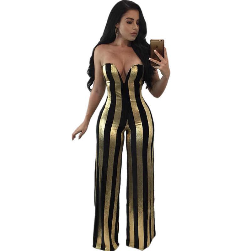 4f579e560ea4 Women Dressy Strapless Jumpsuit Sexy V-Neck High Waist Black Gold Striped  Print Wide Leg