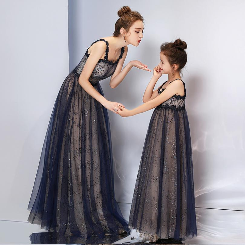 Baby Mother Daughter Dress Family Matching Outfits High end Sleeveless Elegant Evening Dress Wedding Party Gown Costume Y743