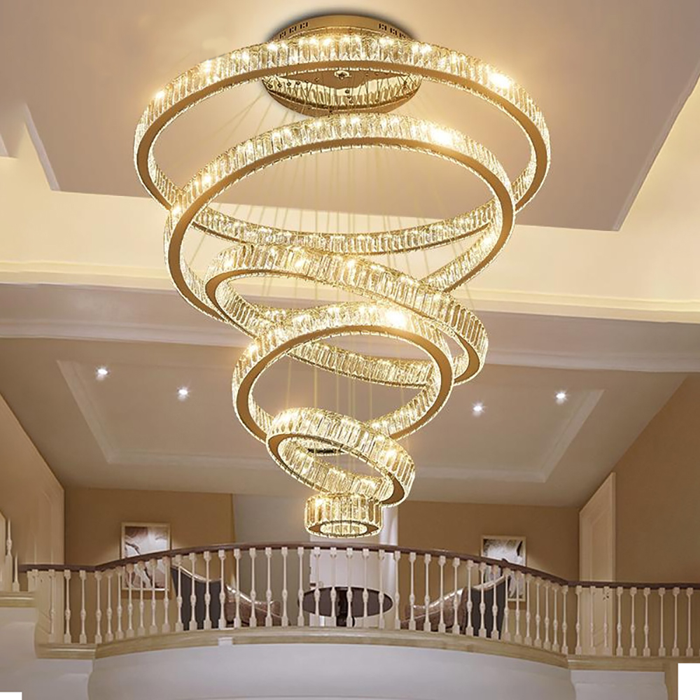 Luxury Living Room Modern Chandelier Lighting Large Staircase LED Crystal Lamp  1