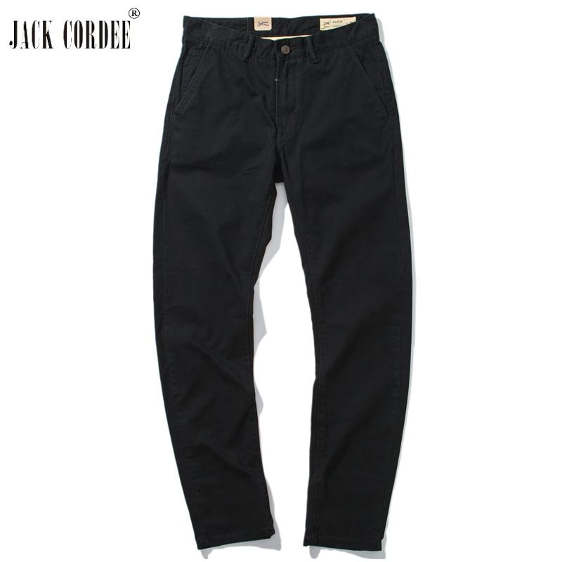 JACK CORDEE 2018 High Quality Straight Pants Men Cotton Solid Black Khaki Slim Business Pant Casual Pencil Pant Man Trousers