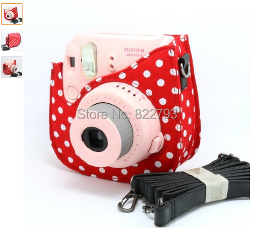 Colorful Dots PU fuji mini case Fujifilm Instax Mini 8 Case + Free Shoulder Strap - Red XIJ11 Fashion gift accessories store
