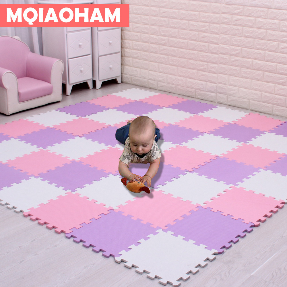 MQIAOHAM 18PCS Pack EVA Puzzle Mat Baby Foam Play Mat Non-slip Baby Floor Mat Jigsaw Puzzle Mats Playroom Bedroom Rugs Tile
