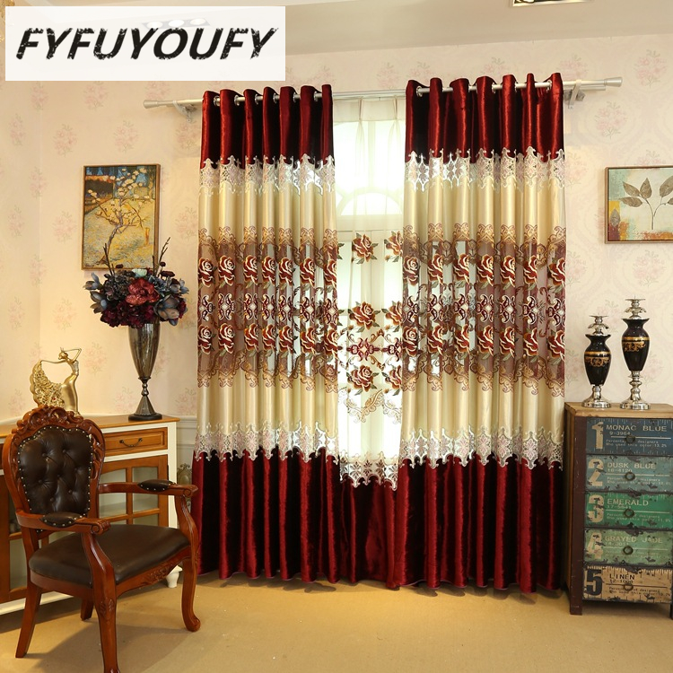 Europe Luxury Living Room Curtains Embroidered Window For Kitchen Curtain Black French Treatments ClothCompare Prices On